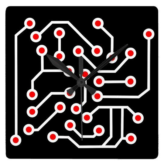 Printed circuit board square wall clock