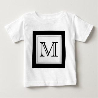 Printed Custom Monogram. Black and Pale Gray. Baby T-Shirt