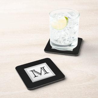 Printed Custom Monogram. Black and Pale Gray. Beverage Coasters