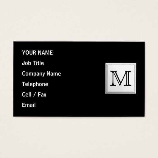 Printed Custom Monogram. Black and Pale Gray. Business Card