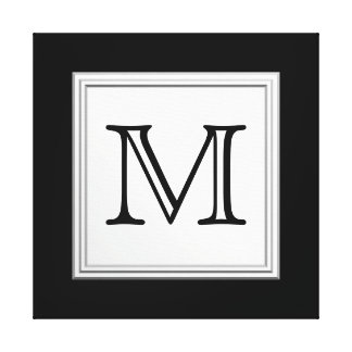 Printed Custom Monogram. Black and Pale Gray. Gallery Wrapped Canvas