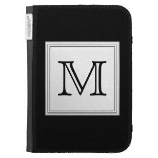 Printed Custom Monogram. Black and Pale Gray. Kindle 3G Cover