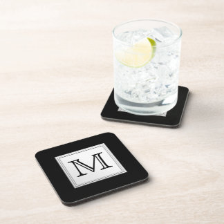 Printed Custom Monogram. Black and Pale Gray. Coaster