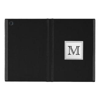 Printed Custom Monogram. Black and Pale Gray. Cover For iPad Mini
