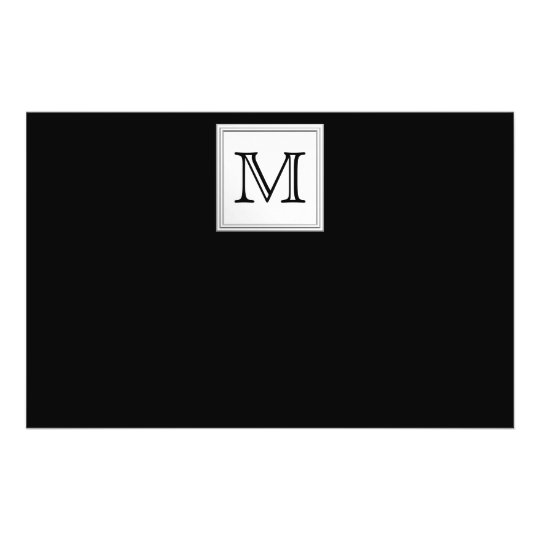 Printed Custom Monogram. Black and Pale Gray. Flyer