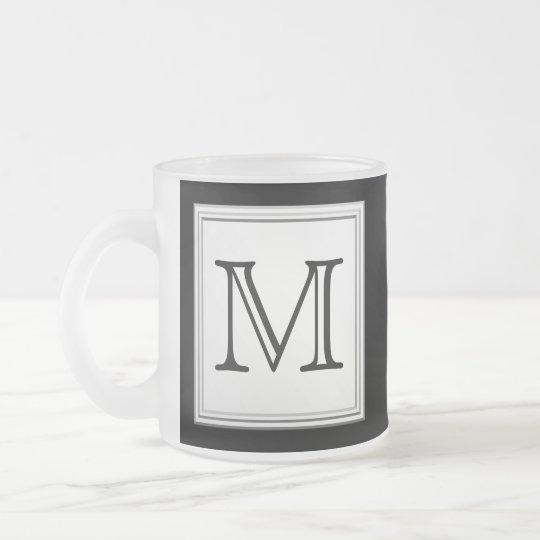 Printed Custom Monogram. Black and Pale Gray. Frosted Glass Coffee Mug