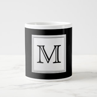 Printed Custom Monogram. Black and Pale Gray. Giant Coffee Mug