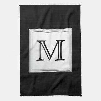 Printed Custom Monogram. Black and Pale Gray. Hand Towel