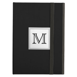 Printed Custom Monogram. Black and Pale Gray. iPad Air Cover