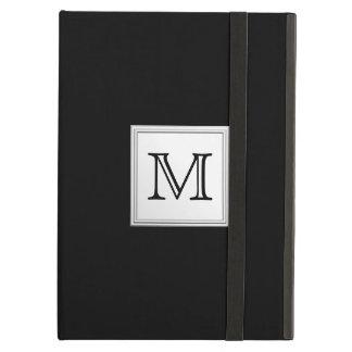 Printed Custom Monogram Black and Pale Gray iPad Folio Case