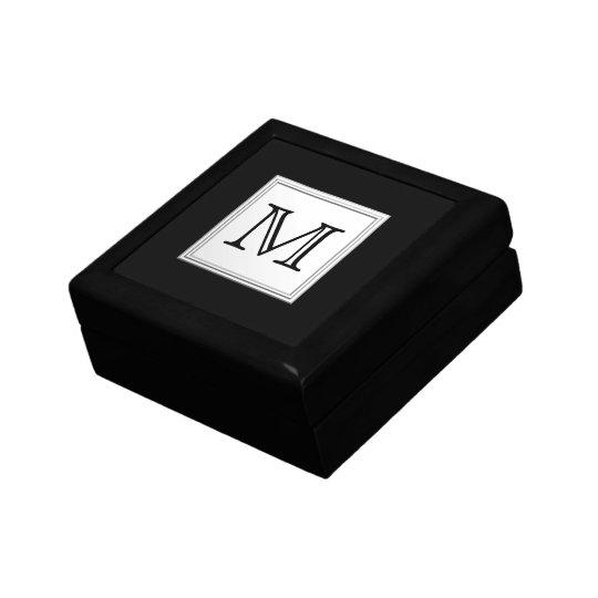 Printed Custom Monogram. Black and Pale Gray. Jewelry Box
