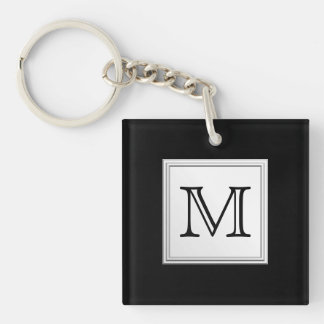 Printed Custom Monogram Black and Pale Gray Acrylic Key Chain