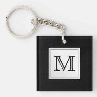 Printed Custom Monogram. Black and Pale Gray. Acrylic Key Chain