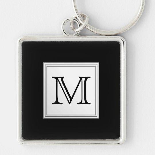 Printed Custom Monogram. Black and Pale Gray. Keychain