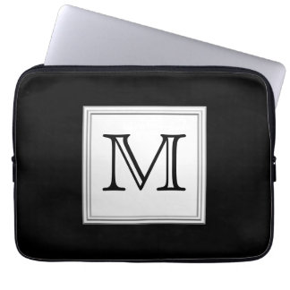 Printed Custom Monogram. Black and Pale Gray. Laptop Sleeve