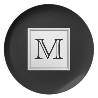 Printed Custom Monogram. Black and Pale Gray. Melamine Plate
