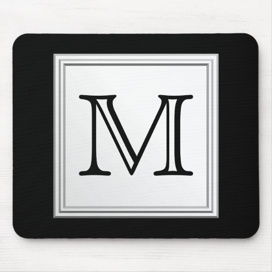 Printed Custom Monogram. Black and Pale Gray. Mouse Pad