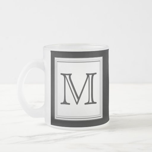 Printed Custom Monogram. Black and Pale Gray. Mugs