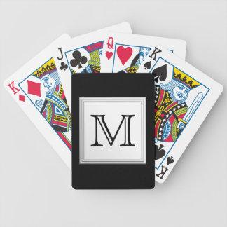 Printed Custom Monogram. Black and Pale Gray. Poker Deck