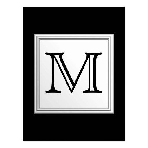 Printed Custom Monogram. Black and Pale Gray. Postcards