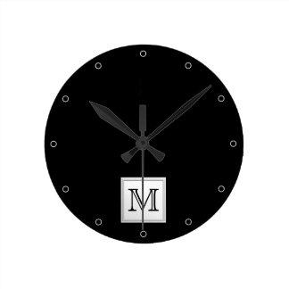 Printed Custom Monogram. Black and Pale Gray. Round Clock