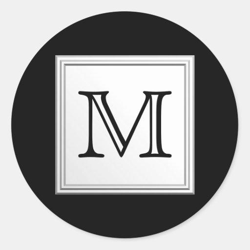 Printed Custom Monogram. Black and Pale Gray. Round Stickers