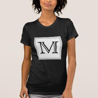 Printed Custom Monogram. Black and Pale Gray. T-Shirt