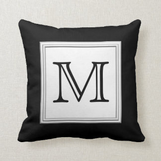 Printed Custom Monogram. Black and Pale Gray. Throw Pillow