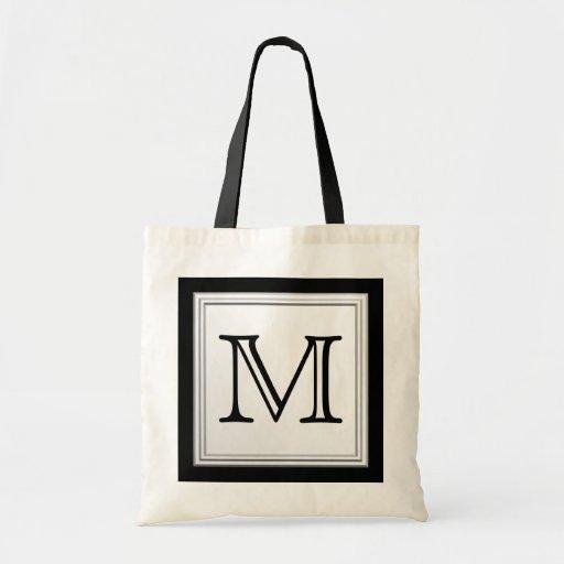 Printed Custom Monogram. Black and Pale Gray. Tote Bag