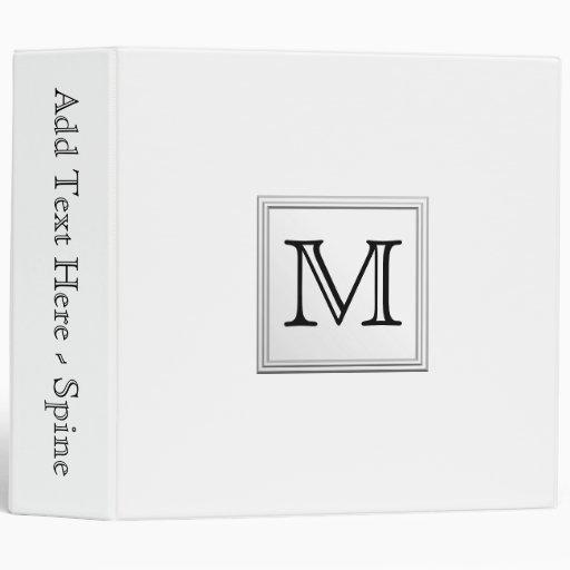 Printed Custom Monogram. Black and White. Binders