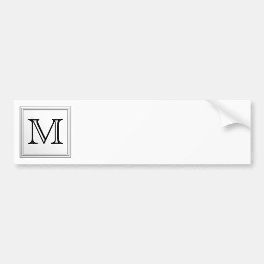 Printed Custom Monogram. Black and White. Bumper Sticker