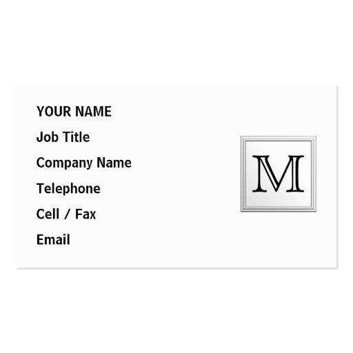 Printed Custom Monogram. Black and White. Business Card Templates