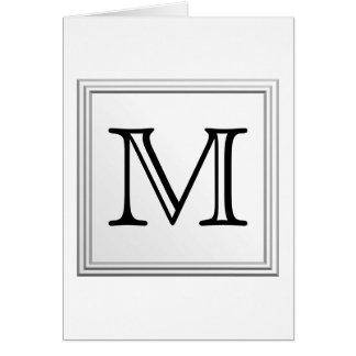 Printed Custom Monogram. Black and White. Card