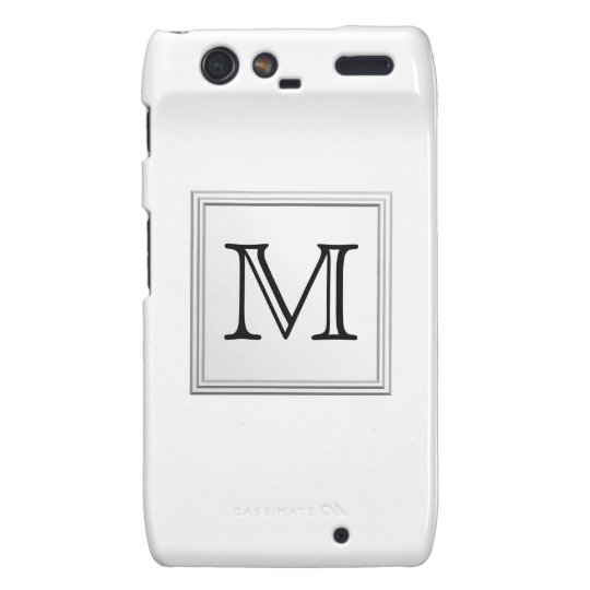 Printed Custom Monogram. Black and White. Droid RAZR Cover
