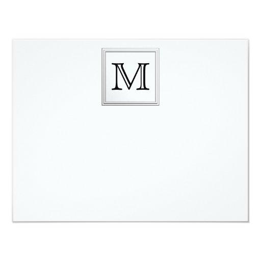 Printed Custom Monogram. Black and White. 4.25x5.5 Paper Invitation Card