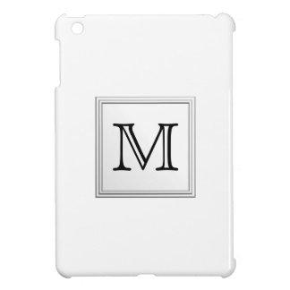 Printed Custom Monogram. Black and White. iPad Mini Cover