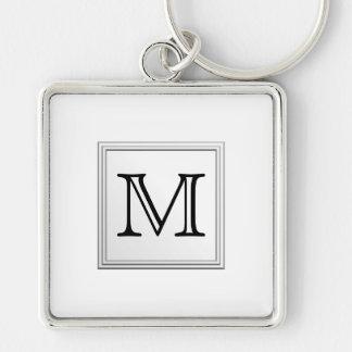 Printed Custom Monogram. Black and White. Keychain