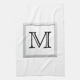 Printed Custom Monogram. Black and White. Kitchen Towels