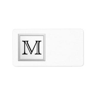 Printed Custom Monogram. Black and White. Label