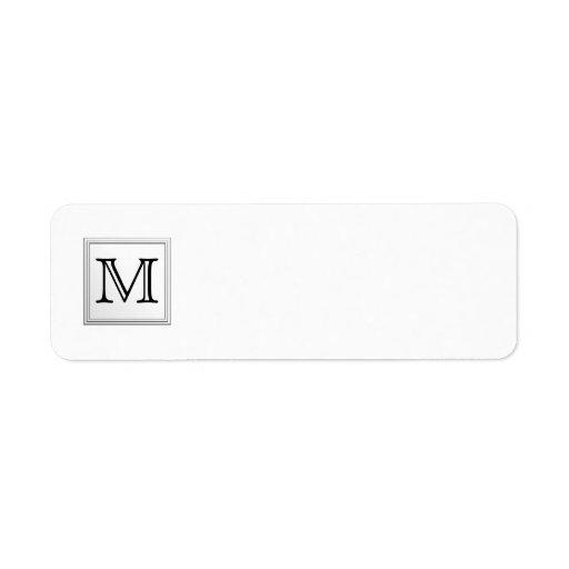 Printed Custom Monogram. Black and White. Return Address Labels