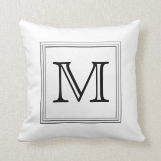 Printed Custom Monogram. Black and White. Pillow