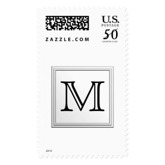 Printed Custom Monogram. Black and White. Postage