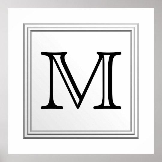 Printed Custom Monogram. Black and White. Poster