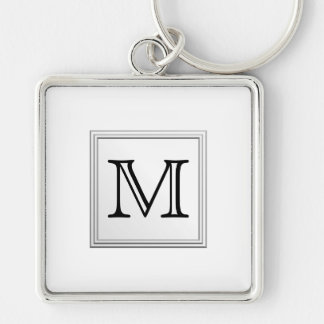 Printed Custom Monogram. Black and White. Silver-Colored Square Keychain