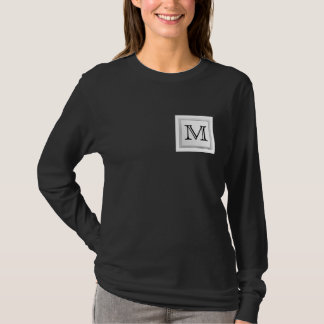 Printed Custom Monogram. Black and White. T-Shirt