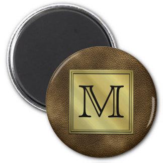 Printed Custom Monogram Image. Brown. 2 Inch Round Magnet