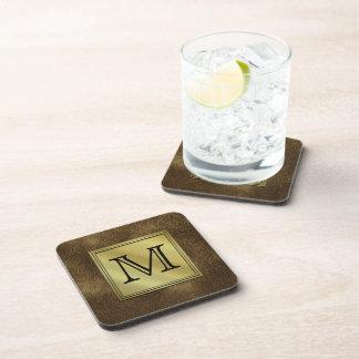Printed Custom Monogram Image. Brown. Beverage Coaster