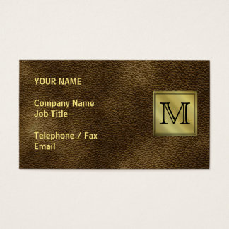 Printed Custom Monogram Image. Brown. Business Card