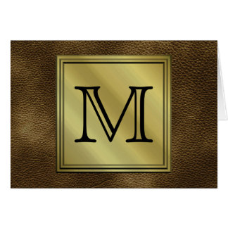 Printed Custom Monogram Image. Brown. Stationery Note Card