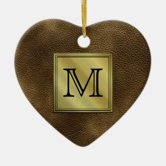 Printed Custom Monogram Image. Brown. Ceramic Ornament